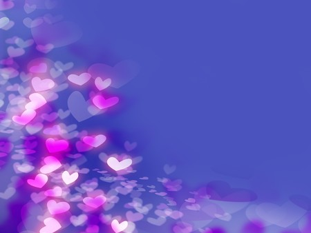 Pink White Purple Hearts on the Blue Background for Valentine Day photo