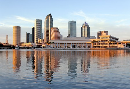 panoramatic: Tampa Skyline - Panoramatic view on modern skyscrapes in business downtown Stock Photo