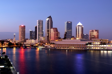 panoramatic: Tampa Skyline - Panoramatic night view on modern skyscrapes in business downtown Stock Photo