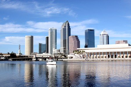 bays: Tampa Skyline - Panoramatic view on modern skyscrapers Stock Photo