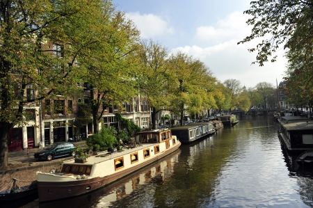 Houseboats on canal in Amsterdam