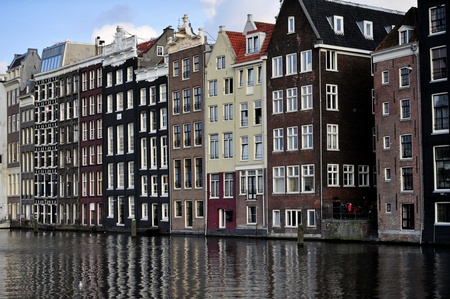 Homes on canal in Amsterdam