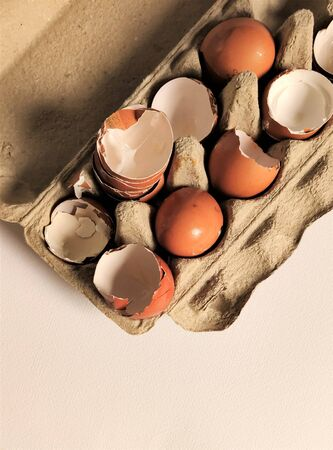 Fragment, shell halves of broken eggs in cardboard cells, top view, flat layout, close-up, aerial photography, food waste, eco-friendly recycling.