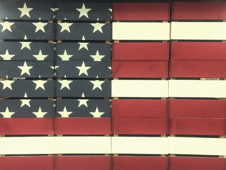 woodcraft: Crates painted and stacked as American Flag