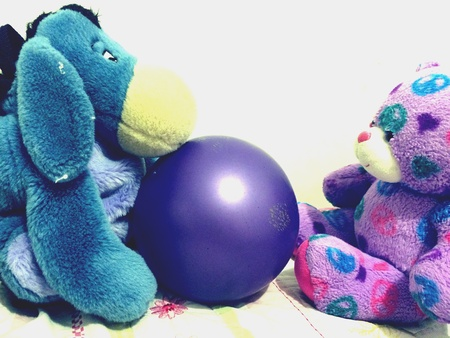 Bear and donkey play catch Zdjęcie Seryjne