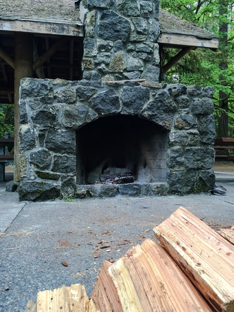 fireplace: Embers at the old fireplace