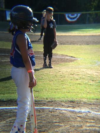 baseball swing: Ready to bat Stock Photo