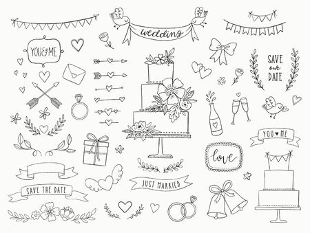 Hand drawn doodle wedding collection. Vector wedding icons, illustrations and design elements for invitations, greeting cards, posters. Arrows, hearts, laurel, wreaths, ribbons, flowers, banners. Standard-Bild - 129294626