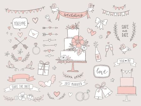 Set of wedding illustrations and icons. Hand drawn vector collection of design elements for for invitations, greeting cards, posters. Standard-Bild - 129294624