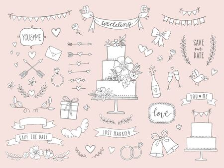 Hand drawn wedding vector collection. Doodle wedding icons, illustrations and design elements for invitations, greeting cards, posters. Arrows, hearts, laurel, wreaths, ribbons, flowers, banners, cake
