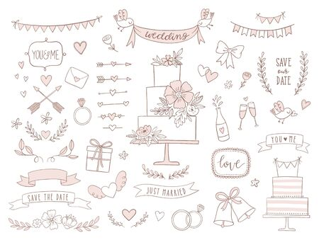 Set of wedding illustrations and icons. Hand drawn vector collection of design elements for for invitations, greeting cards, posters. Standard-Bild - 129294630