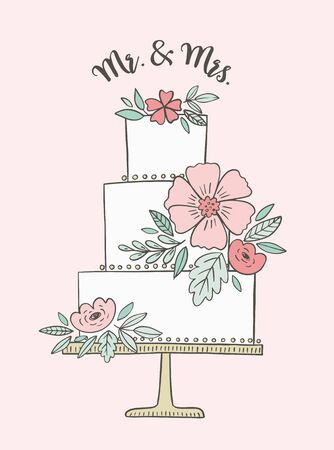 Wedding cake illustration with phrase Mr & Mrs. Vector drawing for invitations and greeting cards. Romantic floral cake . Illustration