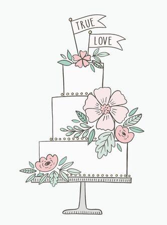Wedding cake hand drawn vector illustration. Cake with floral decoration and banners, flags with phrase True Love. Illustration