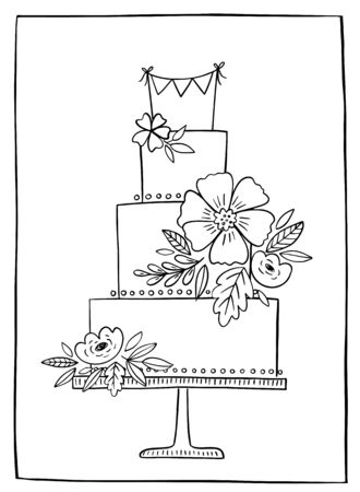 Wedding cake hand drawn vector illustration. Linear black and white cake with floral decoration and bunting banner on a stand.