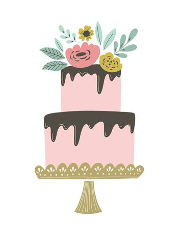 Wedding cake vector illustration with chocolate frosting and floral decoration. Retro vintage wedding or birthday cake for invitations, greeting cards and other. Illustration