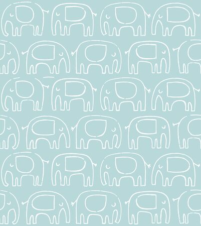 Elephant pattern. Hand drawn doodle elephant silhouette vector seamless background. Baby nursery print. Foto de archivo - 129294535