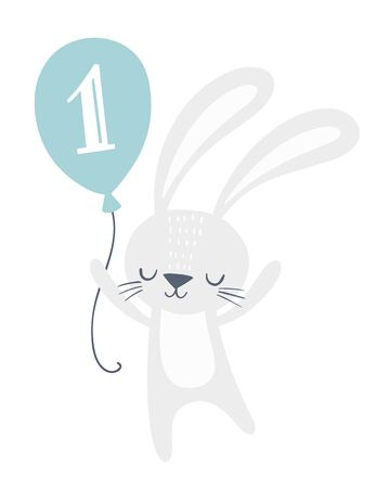 First birthday invitation card design with cute bunny holding a balloon with number one on it. Kids party, greeting card, nursery wall art, poster. Foto de archivo - 129294532