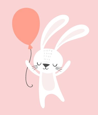 Cute birthday rabbit with a party balloon. Funny cartoon bunny vector illustration for birthday cards, invitations, nursery poster, art print and baby clothing. Foto de archivo - 129291575