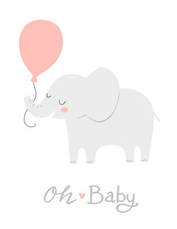 Elephant with a pink balloon. Oh Baby lettering. Cute baby shower invitation card design or nursery poster art. Baby girl. Its a girl. 向量圖像
