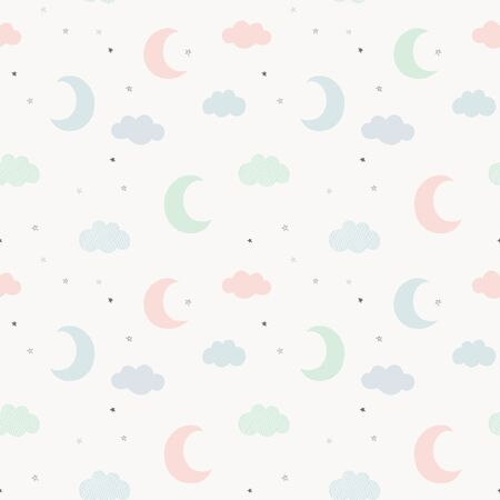 Cute sky pattern. Seamless vector design with hand drawn moon, hearts, stars and clouds. Baby illustration.