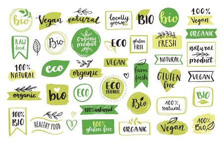 Bio-Lebensmittel, Öko-, Vegan- und Naturproduktsymbole und Elemente für Lebensmittelmarkt, E-Commerce, Verpackung von Bioprodukten, Förderung des gesunden Lebens, Restaurant. Handgezeichnete Vektor-Design-Elemente.