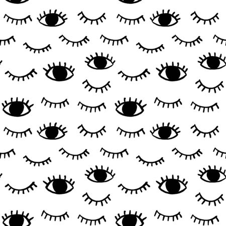 Vector pattern with hand drawn eyes doodles. Trendy seamless background with opened and winking or closed eyes. Ilustração