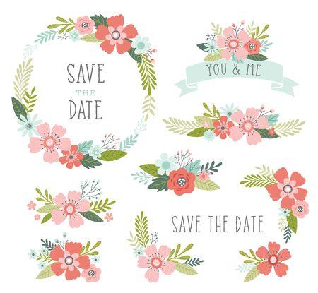 Vektorsammlung mit floralen Elementen. Hochzeitsblumenarrangements und Kranz. Blumendesignelemente einschließlich Blumenkranzrahmen, Bänder, Blumensträuße.