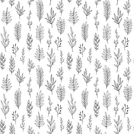Hand drawn vintage botanical vector pattern. Seamless floral background with leaves, twigs and branches.