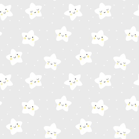 Stars vector pattern. Cute seamless background with smiling stars on a night sky. Baby and kids illustration. Иллюстрация