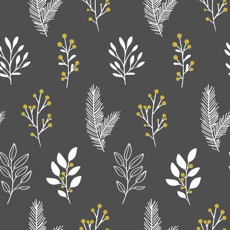Vector winter floral pattern on a dark Illusztráció