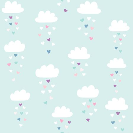 Vector pattern with clouds with heart rain. Valentines day seamless background.