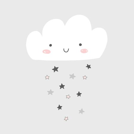 Nursery art with happy smiling cloud and stars rain. Cute baby illustration.