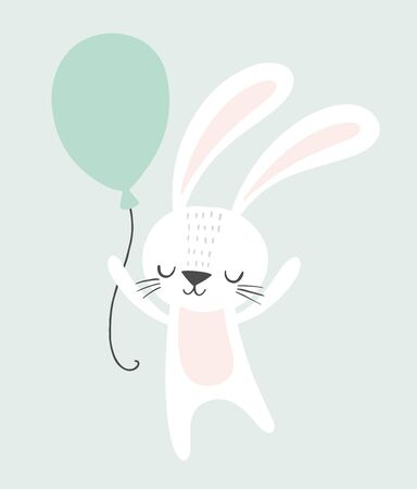 Cute rabbit holding a balloon. Childish illustration. Nursery wall art, kids party invitation, birthday greeting card, baby shower, poster.