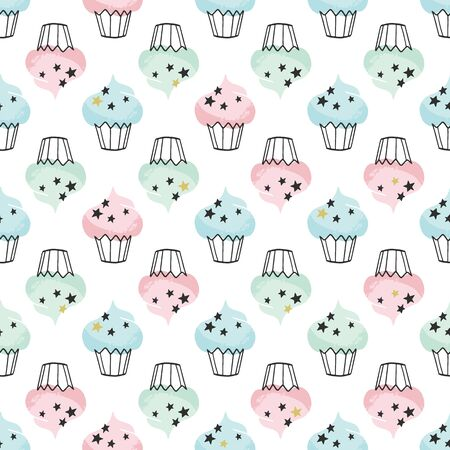 Cupcake vector pattern. Archivio Fotografico - 133350651