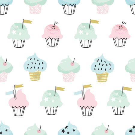 Hand drawn cute cupcake vector pattern Archivio Fotografico - 133350657