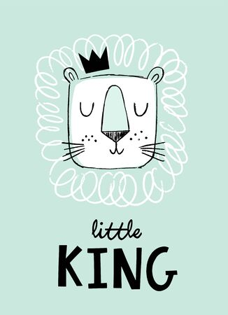 Hand drawn lion head in a crown. Cute doodle style lion face. Little King baby, kids nursery art or design for baby clothing. Illustration