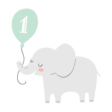 First birthday greeting card or party invitation with a cute vetor elephant illustration. Elephant holding a balloon on white background.