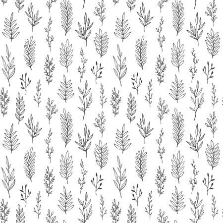 Hand drawn vintage botanical vector pattern. Illusztráció