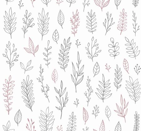Floral vector pattern with hand drawn branches, leaves and twigs.