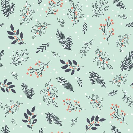 Vector seamless  with winter branches and leaves.