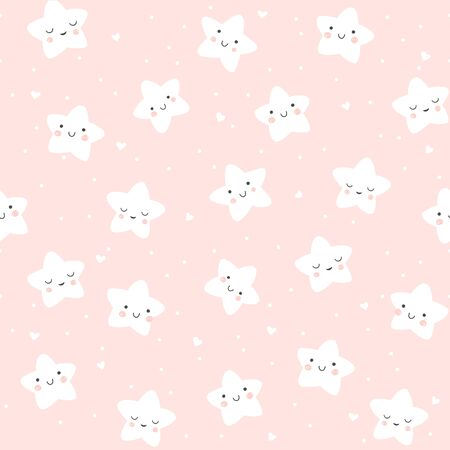 Baby seamless pattern with cute smiling and sleeping stars in Scandinavian style.