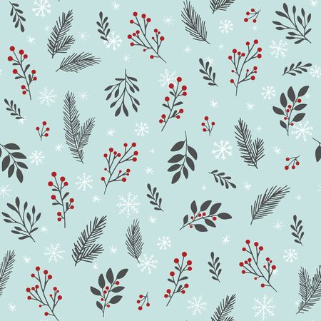 Vector seamless  with winter branches and leaves
