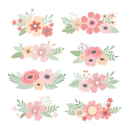 Wedding bouquets collection. Flower arrangments, posies. Romantic hand drawn vector floral set.