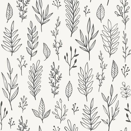 Hand drawn plants, branches, leaves seamless pattern. Illusztráció