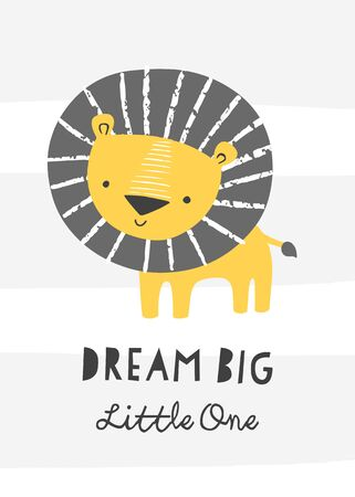 Nursery poster with cute lion. Ilustrace