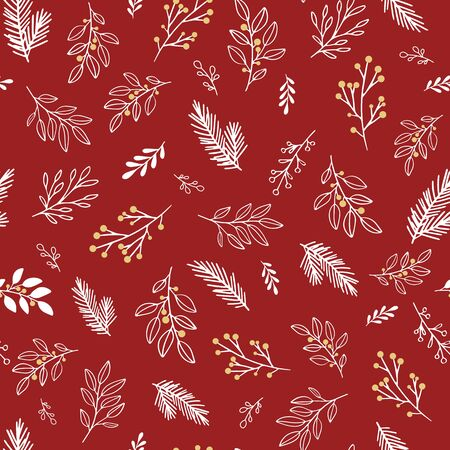 Hand drawn vector winter floral pattern.