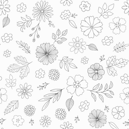 Hand drawn floral vector pattern with flowers. Doodle subtle seamless background. Stock Illustratie
