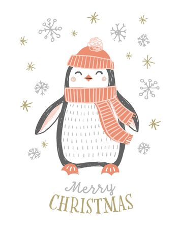 Cute hand drawn penguin in winter hat and scarf with snowflakes. Christmas penguin vector illustration. Merry Christmas greeting card design. Ilustração