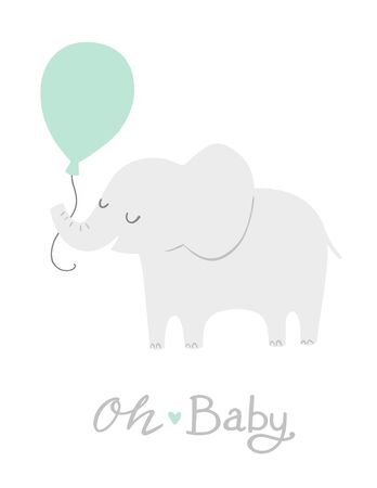 Elephant with a mint green balloon. Oh Baby lettering. Cute baby shower invitation card design or nursery poster art. Baby boy. Its a boy.