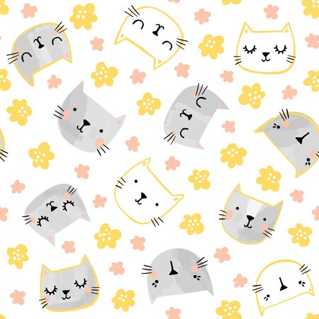 Cat vector pattern with flowers. Spring, summer seamless background with cute painted cat faces.